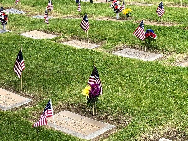 Flags on veteran head stones at cemetery