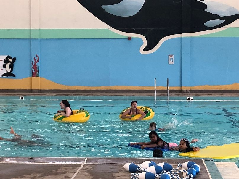Inner tubes and rafts at the county indoor pool