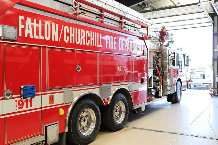 Fire truck in the fire house