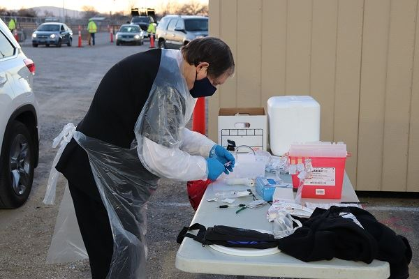Vaccine prep at fairgrounds